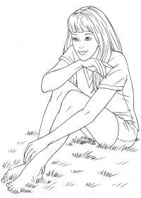 Девочка сидит на траве Раскраски цветочки для детей бесплатно
