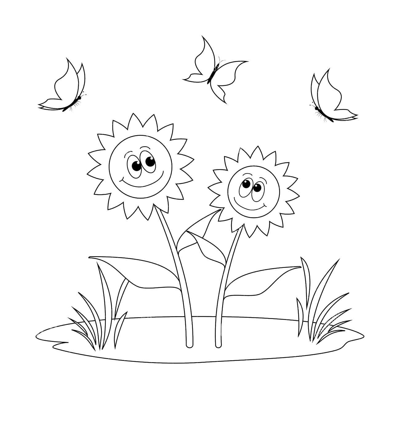 Два подсолнуха на поляне с травой а над ними летают бабочки Раскраски цветочки онлайн