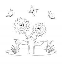 Два подсолнуха на поляне с травой а над ними летают бабочки Раскраски цветочки для детей бесплатно