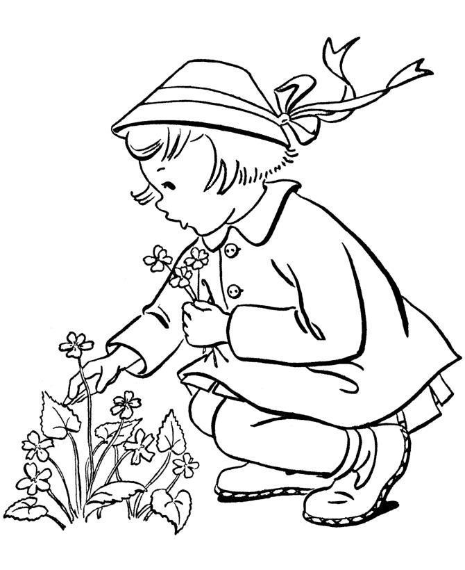 Девочка собирает полевые цветы Раскраски цветочки для детей бесплатно