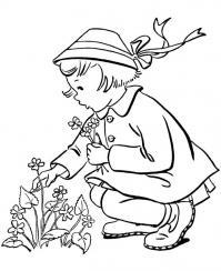 Девочка собирает полевые цветы Раскраски с цветами распечатать бесплатно