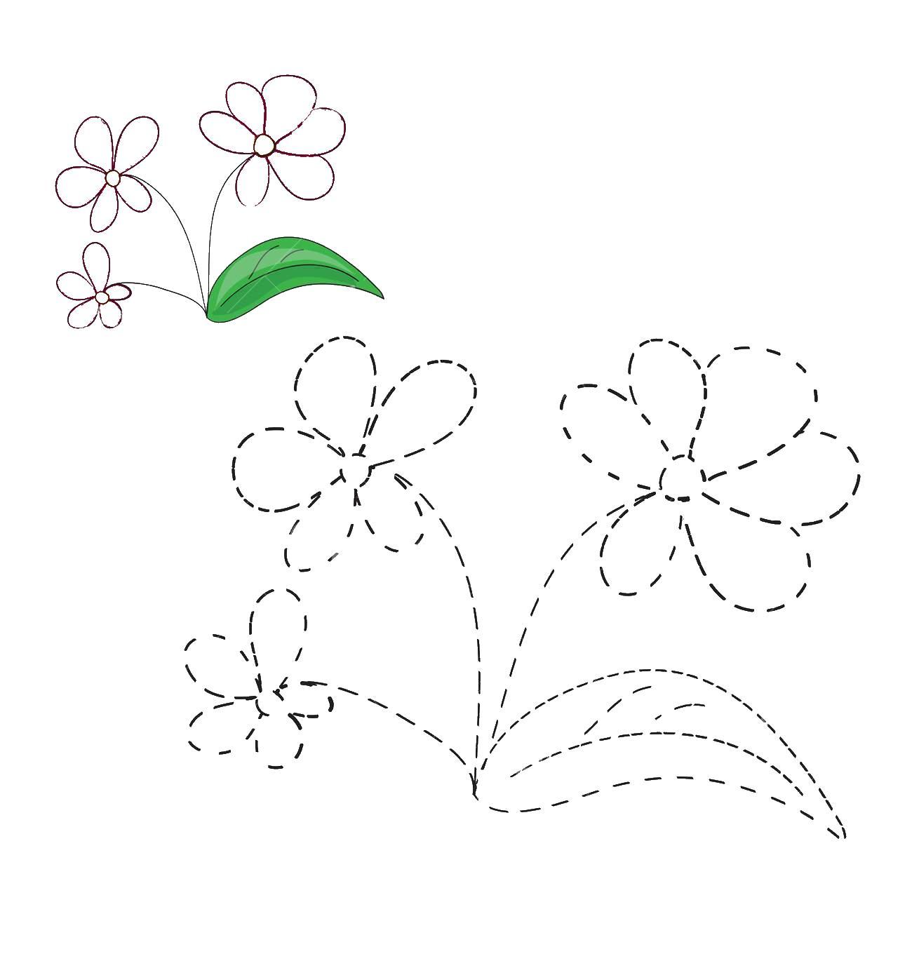 Цветок обведи по точкам Раскраски с цветами распечатать бесплатно