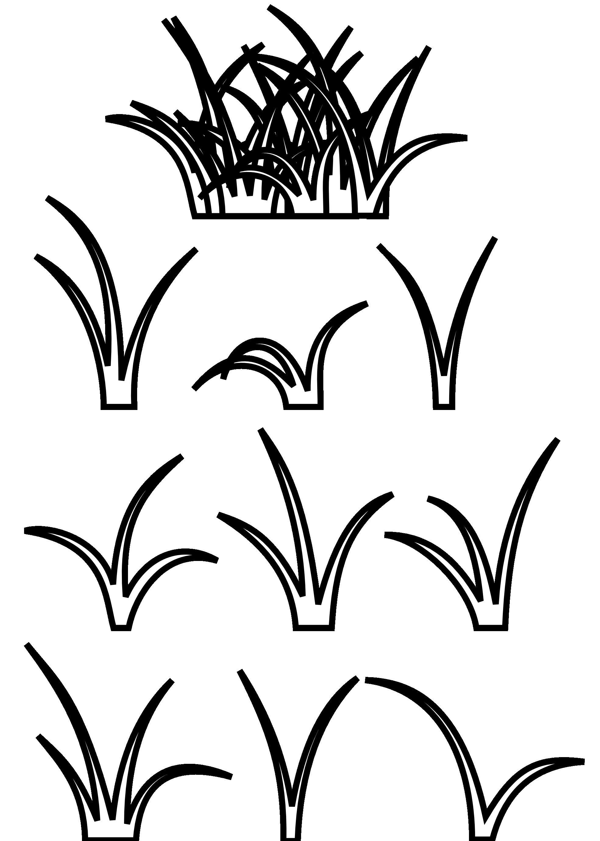 Контуры травы для аппликации и вырезания