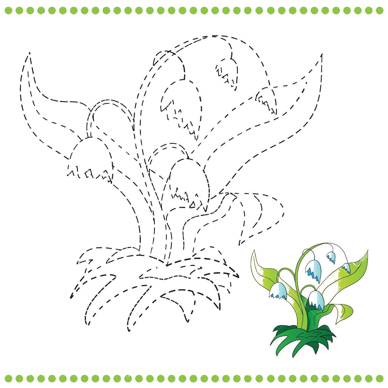 Ландыш по точкам Раскраски цветы для детей