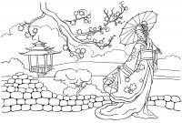 Цветущее дерево в китае Раскраски с цветами распечатать бесплатно