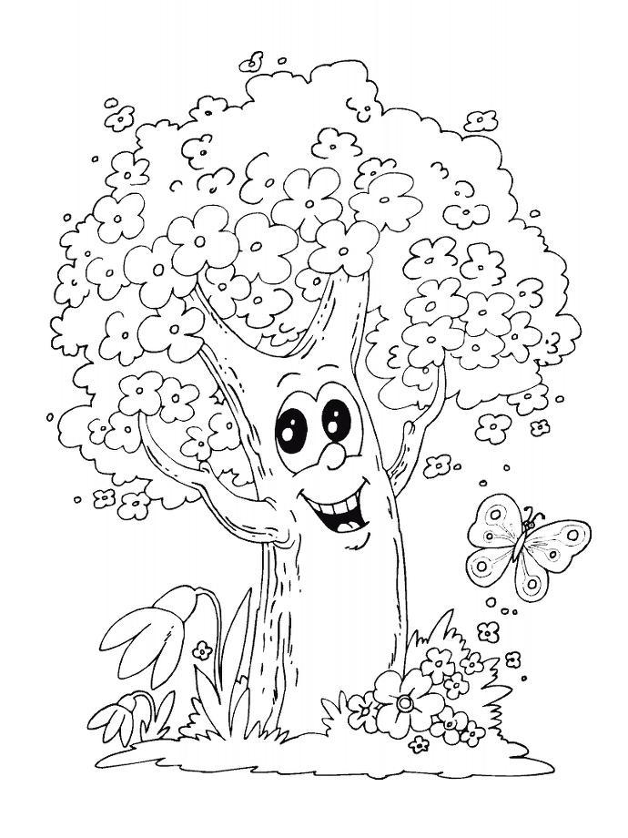 Веселое сказочное дерево с цветами Новые раскраски цветы