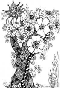 Волшебное дерево с цветочками Новые раскраски цветы
