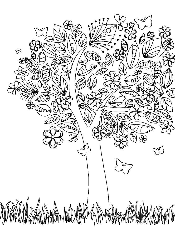 Сказочное дерево полно цветов и бабочек Новые раскраски цветы