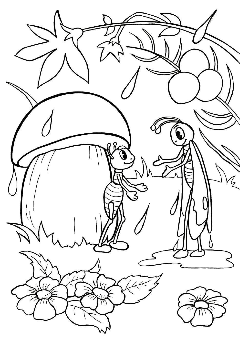 Раскраска с цветами и грибом