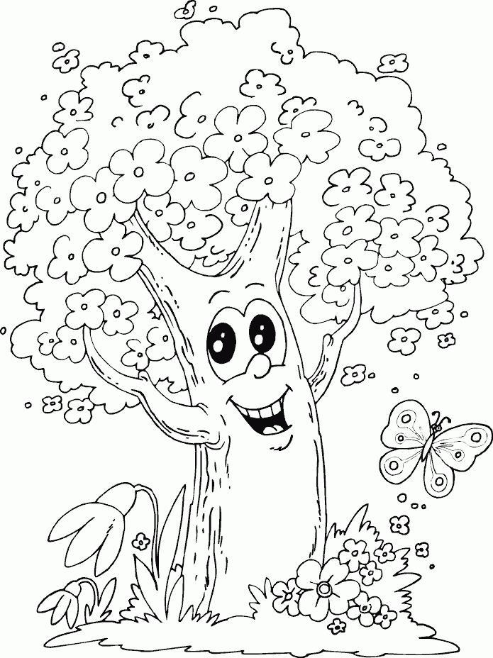 Сказочное счастливое дерево и бабочка Новые раскраски цветы