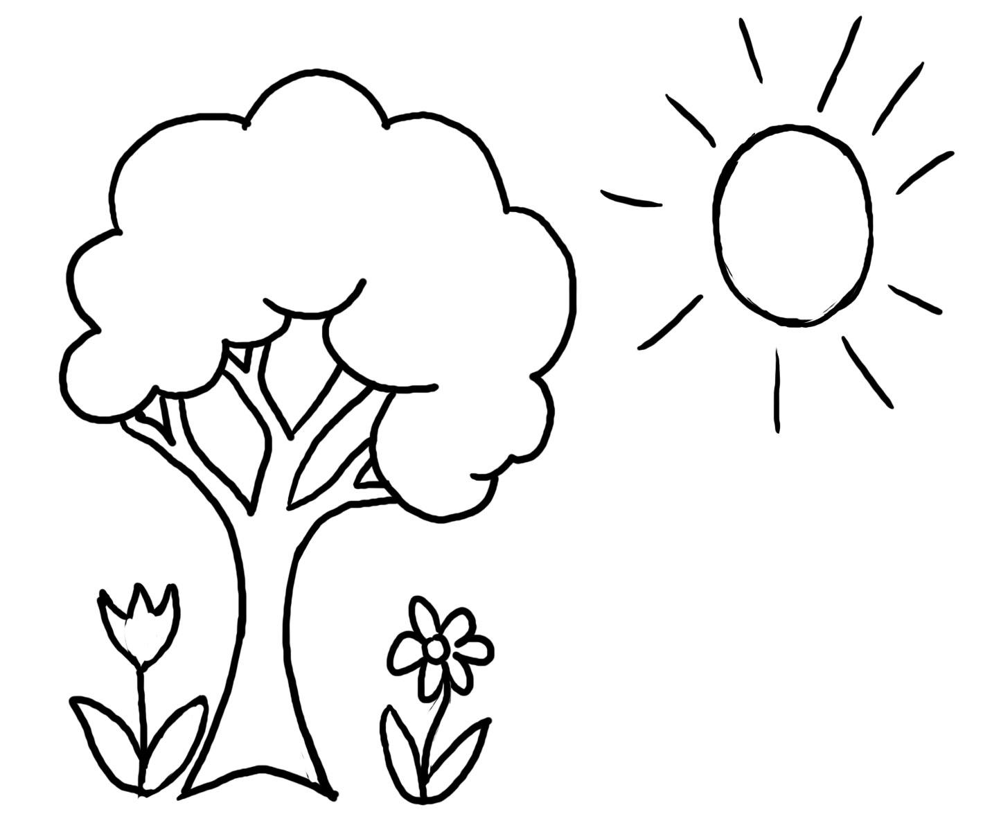 Для детского сада два цветка солнце и дерево Раскраски цветочки  для девочек