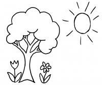 Для детского сада два цветка солнце и дерево Фото раскраски цветы