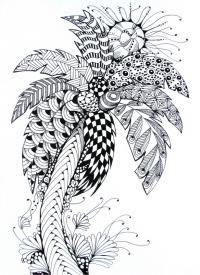 Дерево с узорами и цветами Новые раскраски цветы