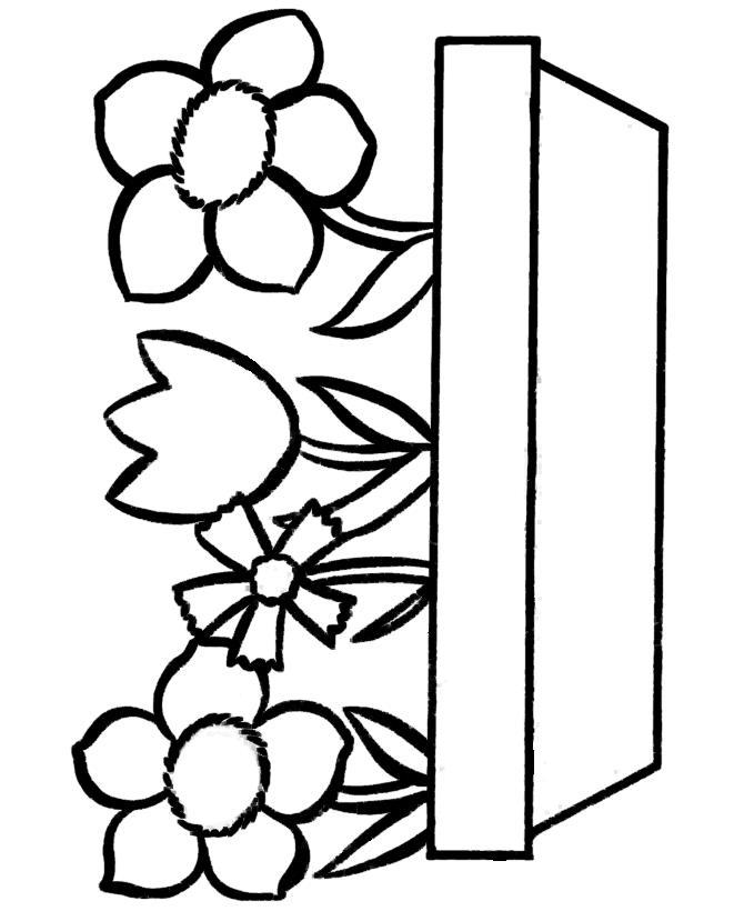 Домашние цветы в длинном горшке Раскраски детские с цветами