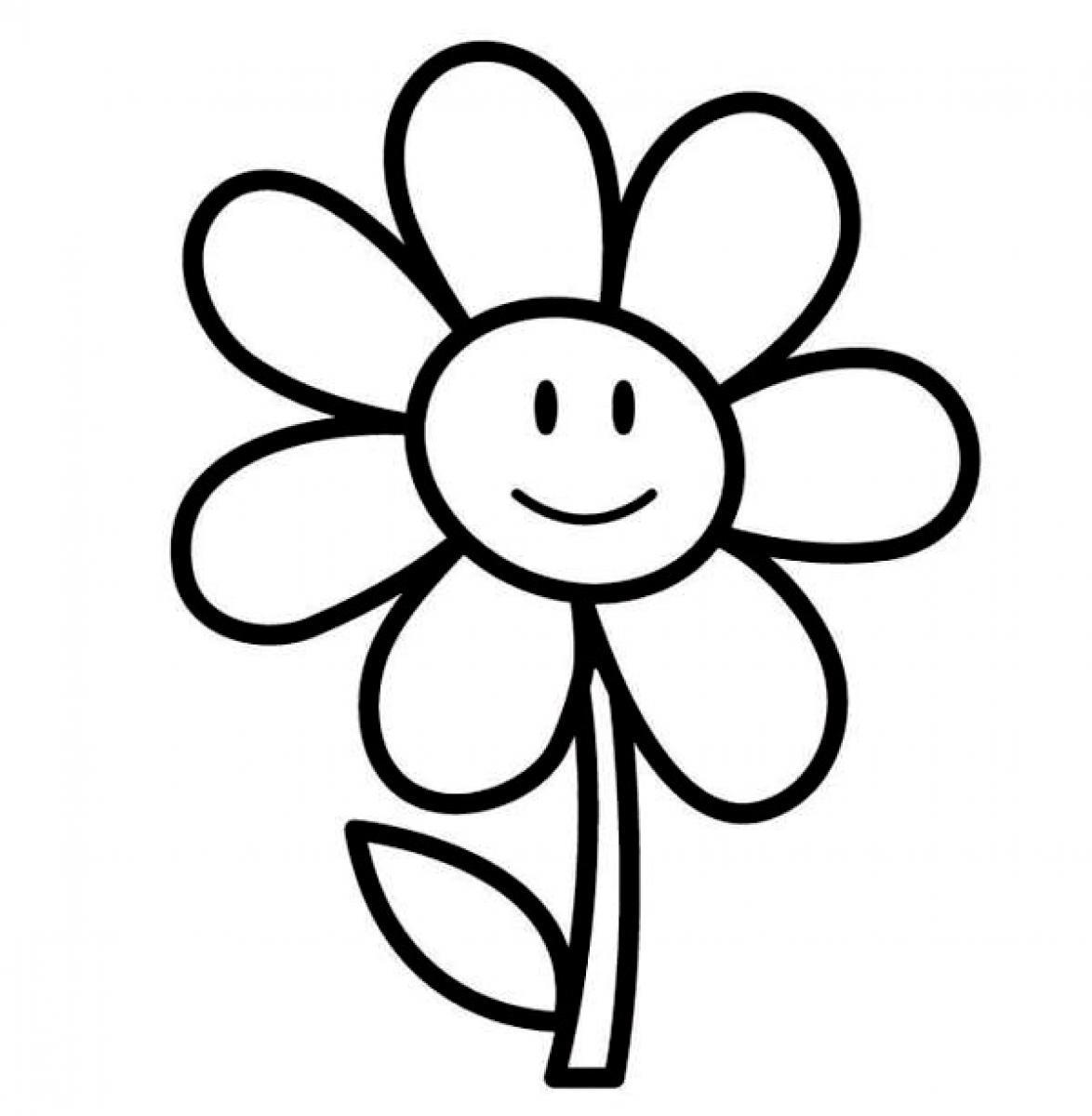 Ромашка красивая Раскраски детские с цветами