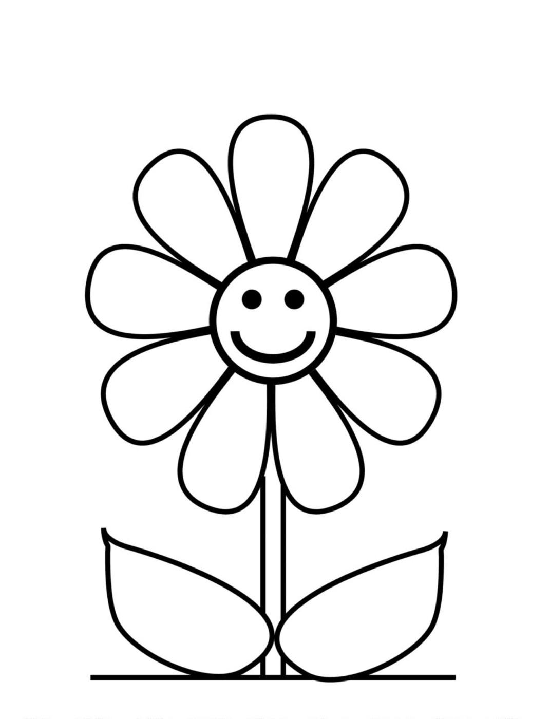 Ромашка улыбается для детей Раскраски детские с цветами