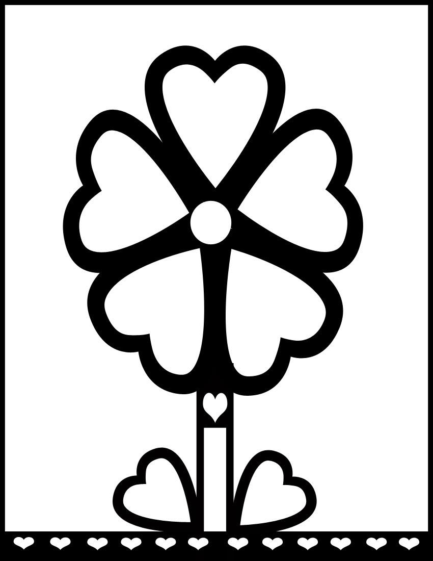 Цветок для маленьких с сердечками и жирным контуром Раскраски детские с цветами