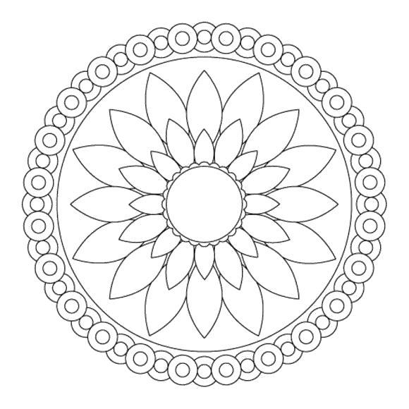 Узор цветок для девочек Раскраски детские с цветами