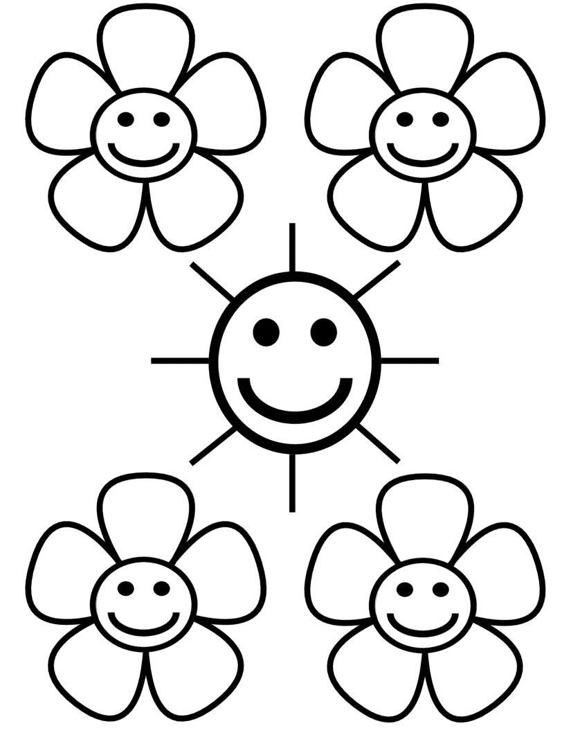 Цветочки вокруг солнца Раскраски детские с цветами