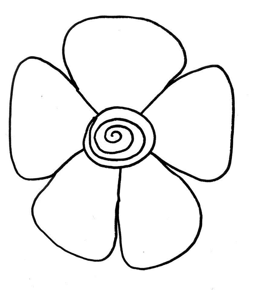 Цветок со спиралькой для маленьких Фото раскраски цветы