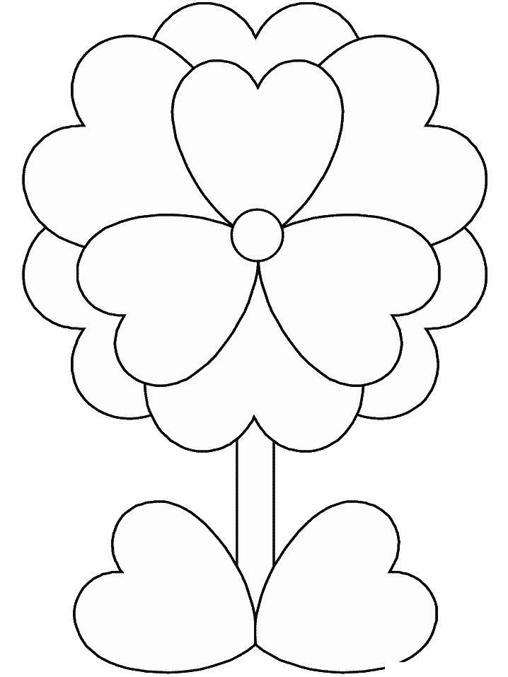 Цветок из сердечек Раскраски цветов скачать
