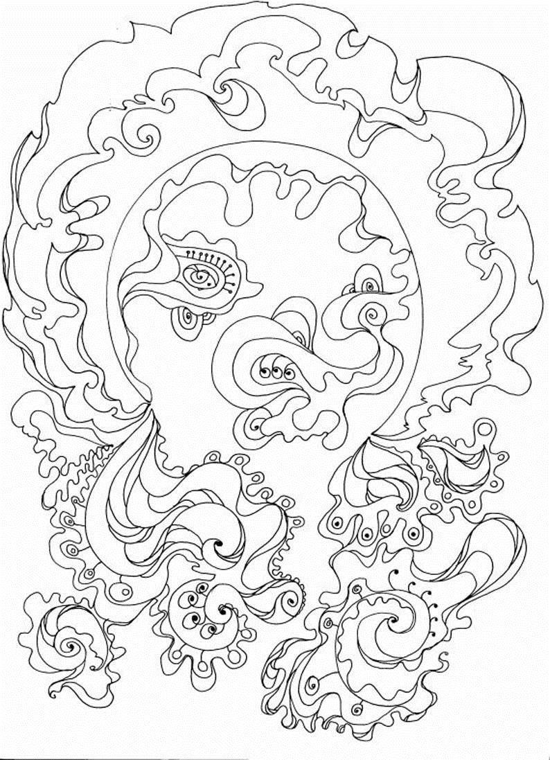 Футуристические узоры с цветами Раскраски с цветами распечатать бесплатно