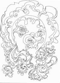 Футуристические узоры с цветами Распечатываем раскраски цветы бесплатно