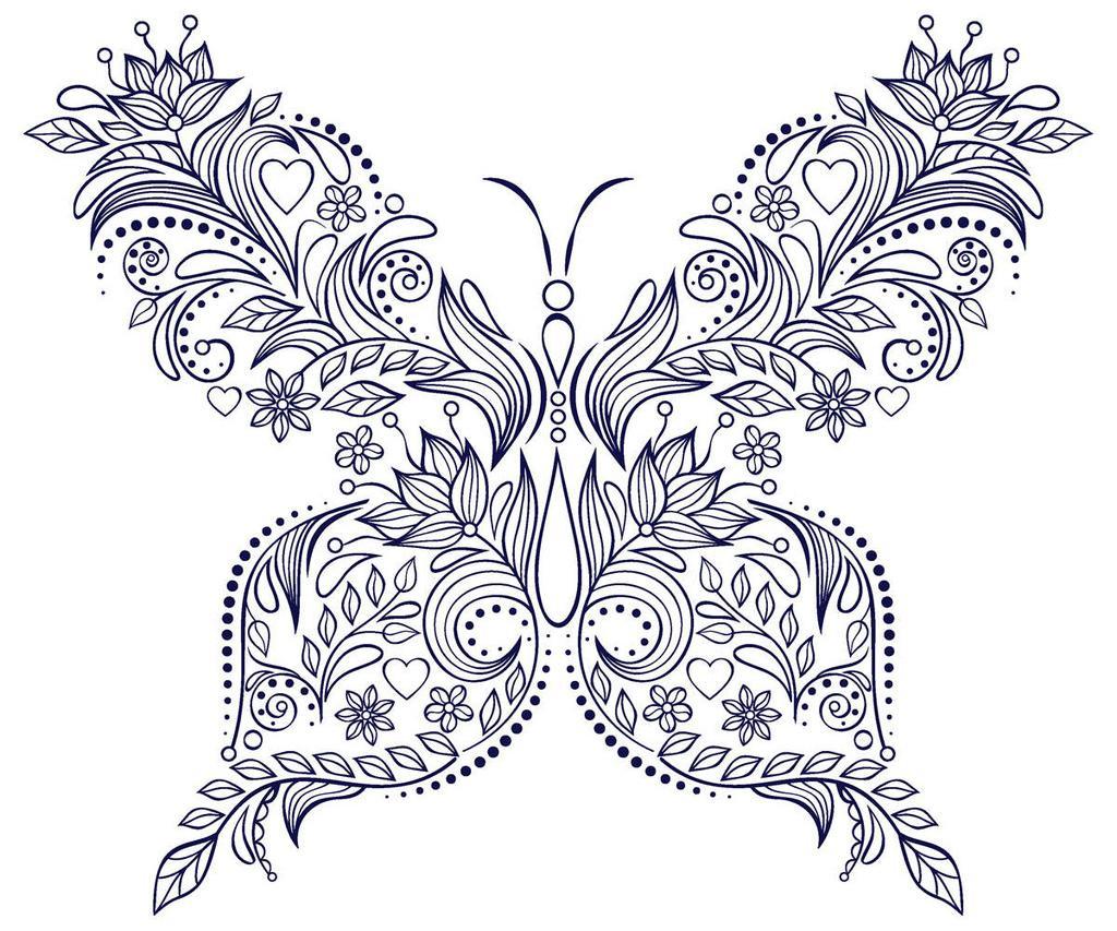 Узор бабочка из цветов Раскраски с цветами распечатать бесплатно