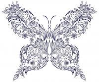 Узор бабочка из цветов Распечатываем раскраски цветы бесплатно