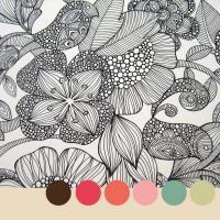 Птицы и цветы Распечатываем раскраски цветы бесплатно
