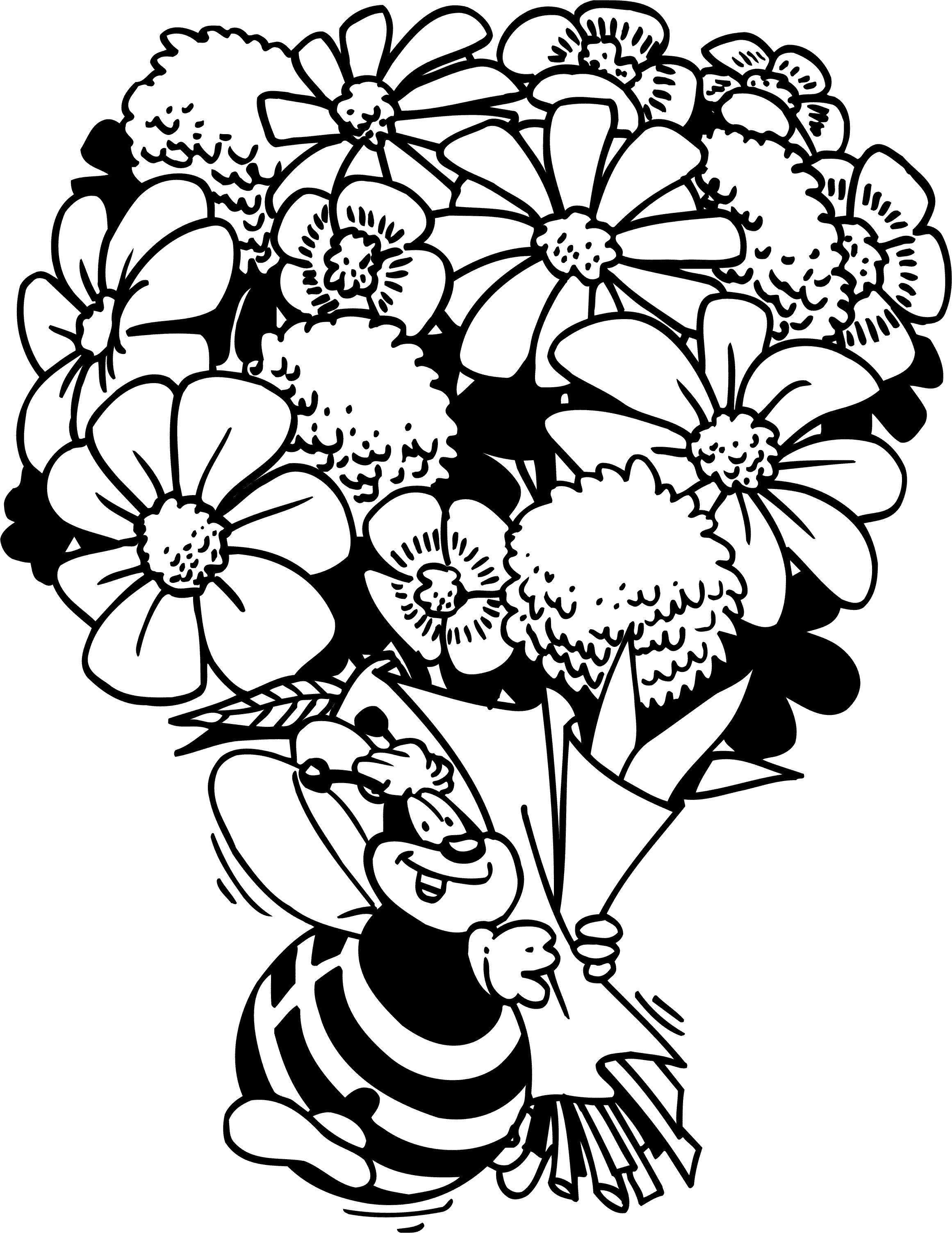 Картинки с букетами цветов для раскраски