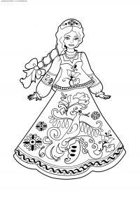 Девушка в платье с цветочным узором Распечатываем раскраски цветы бесплатно