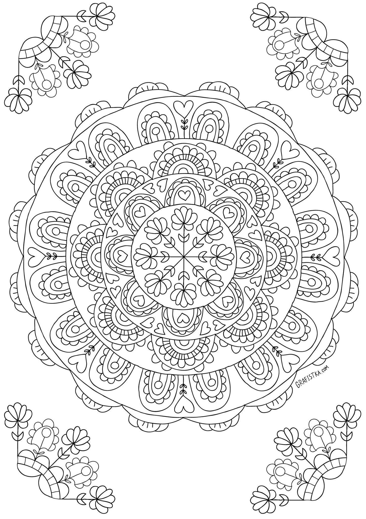 Мандала Раскраски с цветами распечатать бесплатно