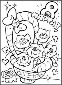 Корзина с цветами на 8 марта, розы, сердечки Детские цветы распечатать