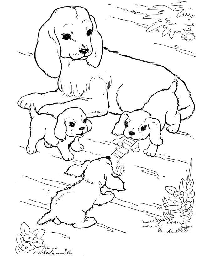Собака с щенятами в цветах