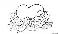 Раскраска розы и сердечко