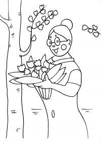 Бабушка с букетом цветов