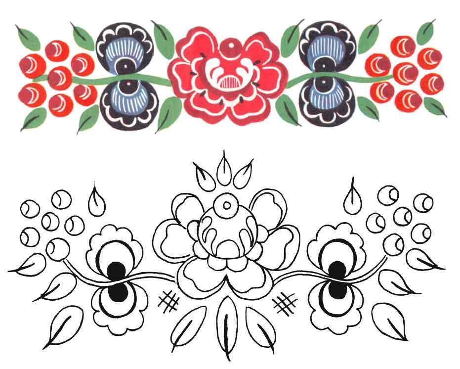 Узоры с цветами, раскрась по образцу