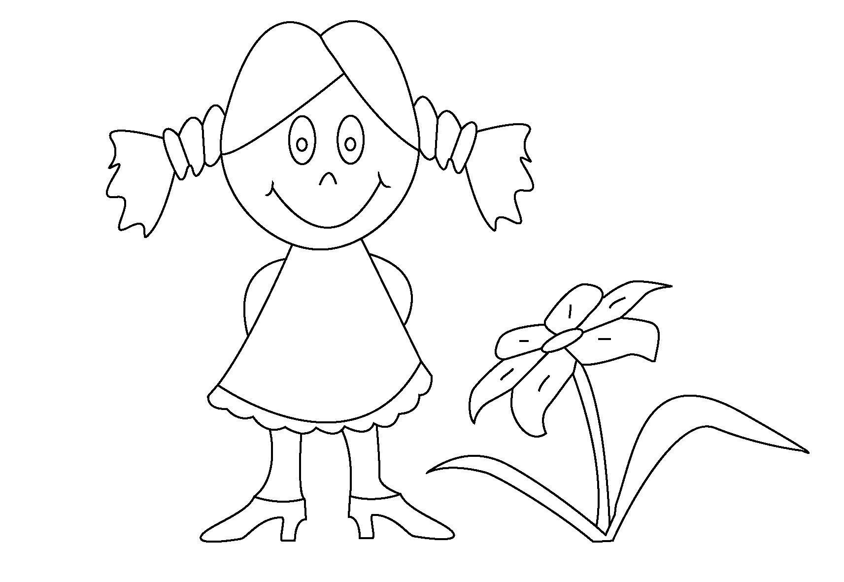 Девочка и цветок раскраска