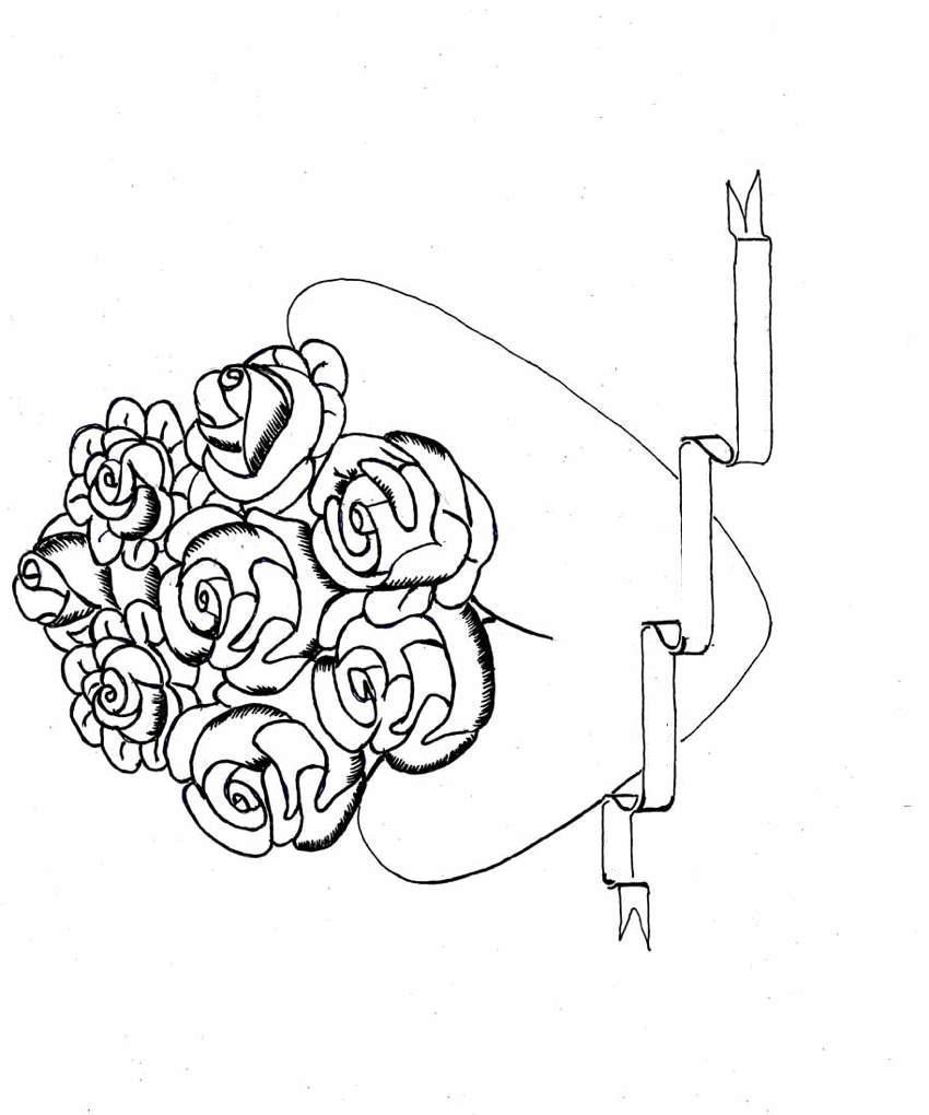 С сердечками розы и лента