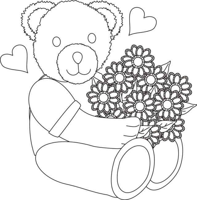 Мишка с букетом цветов в сердечках