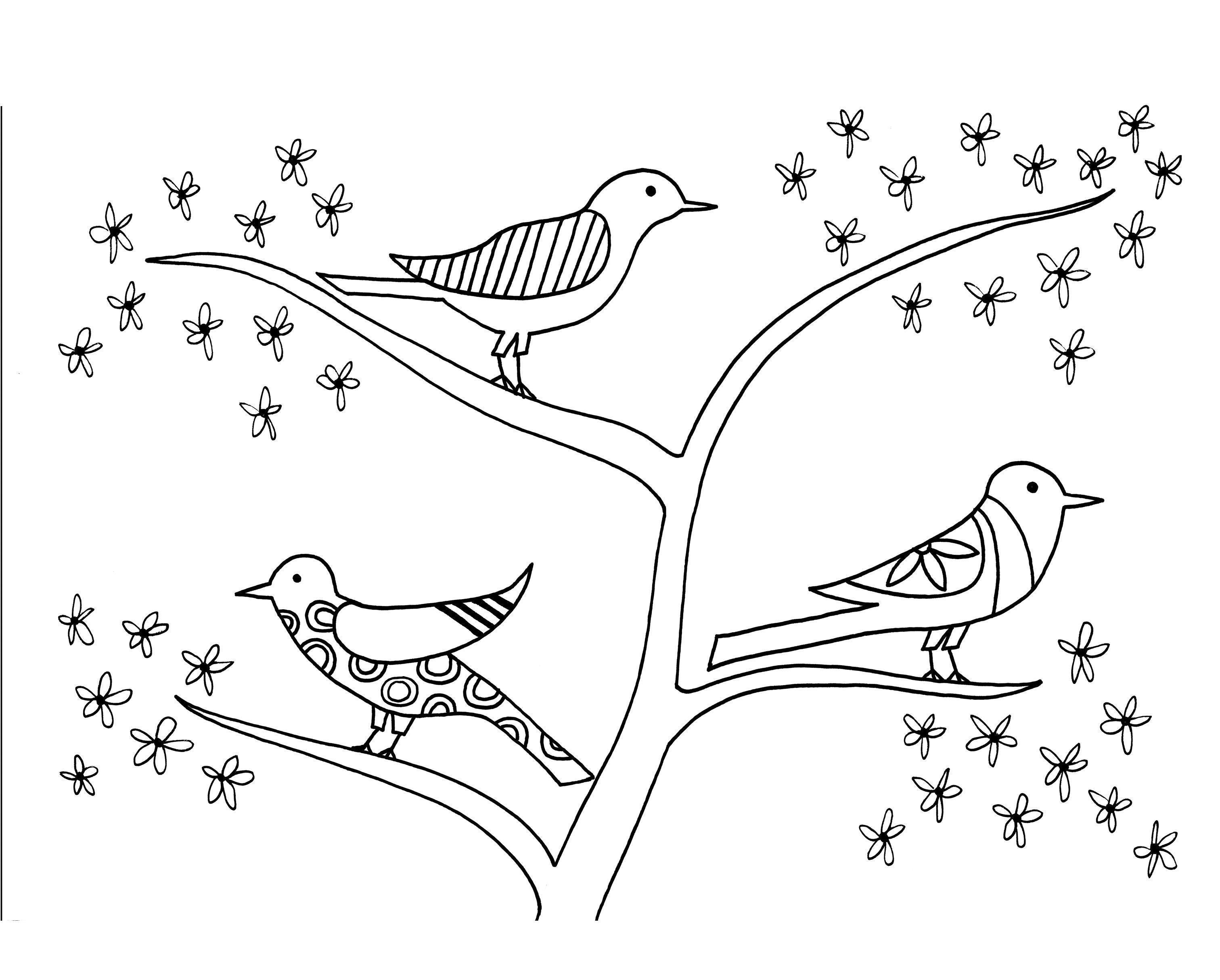 Птицы на цветущем дереве птицы с узорами