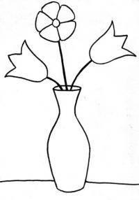 Простой рисунок цветов в вазе