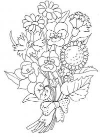Цветы анютины глазки, нарциссы, гвоздики и ромашки