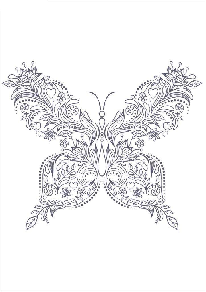 Раскраски антистресс узор бабочка