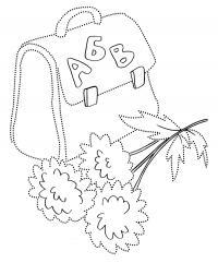 Цветочки с ранцем раскраска на 1 сентября