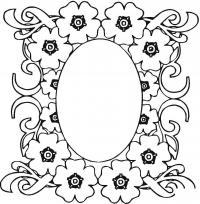 Овальная рамка из пятилепестковых цветов