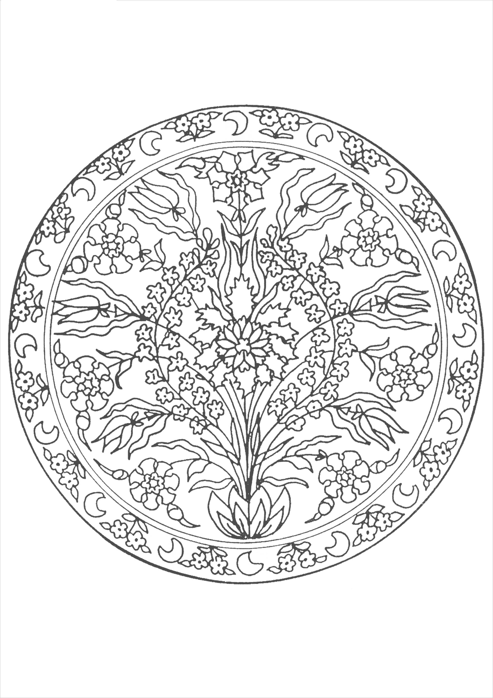 Волшебные цветы в орнаменте из круга