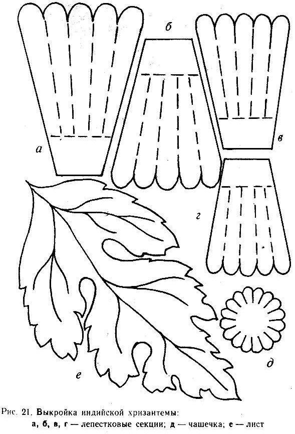 Хризантема шаблон выкройка контур для поделок и аппликаций