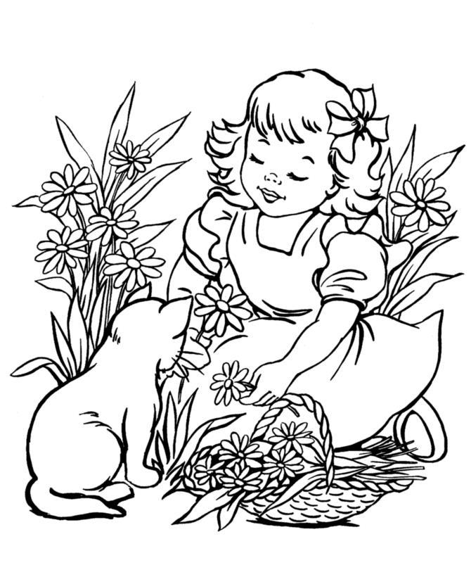 Девочка с кошкой на клумбе с корзинкой цветов